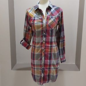 BDG Tunic Length Plaid Cotton Button Down
